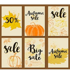 Set of autumn cards for seasonal sale vector