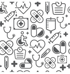 Line style icons seamless pattern medicine vector