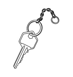 silhouette realistic metal key with chain icon vector image