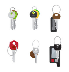Set of modern door and car keys flat vector