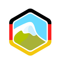 Flag of germany and alpine mountain vector