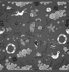Cartoon sea pattern with fish and gull vector