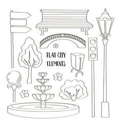 city street urban elements icon set vector image