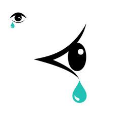 tear icon and eye icon vector image