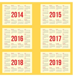 Calendar grid for 2014 2015 2016 2017 2018 vector