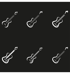 Electric guitar icons music signs vector