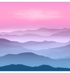 Background with mountains in the fog vector