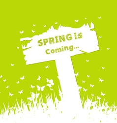 Spring is coming concept with sign post vector