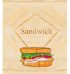 Grunge background with sandwich vector