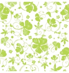 Green swirly clover seamless pattern vector
