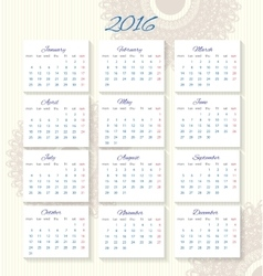 Calendar 2016 starting from monday vector