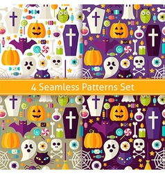 Four flat seamless halloween party patterns set vector