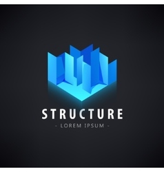 Abstract geometric blue logo icon vector