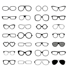 Collection various styles of fashion glasses solid vector