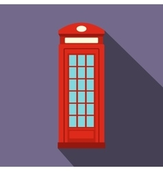 British red phone booth icon flat style vector