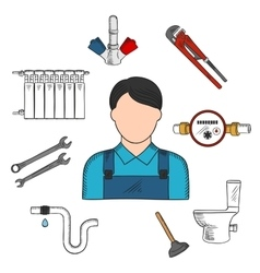 Plumber sketch icon with hand tools and equipments vector