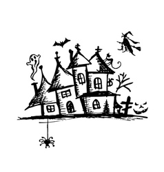 Old mystery house halloween night vector image