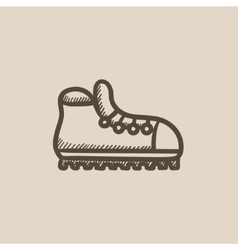 Hiking boot with crampons sketch icon vector