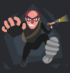 A picture of a balding thief in a mask that runs vector