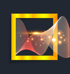abstract gold wave in square vector image vector image