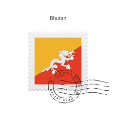 Bhutan flag postage stamp vector