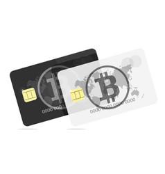 bitcoin black and white bank card vector image vector image