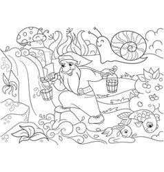 childrens coloring forest a magic dwarf is vector image vector image