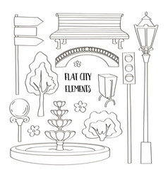 city street urban elements icon set vector image