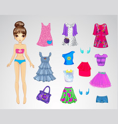 Cute Casual Paper Doll vector image