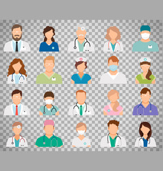 Doctor avatars on transparent background vector