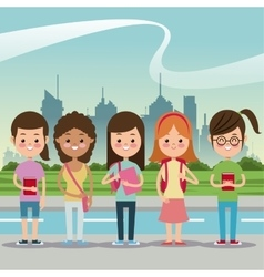 Girls smiling back school urban background vector