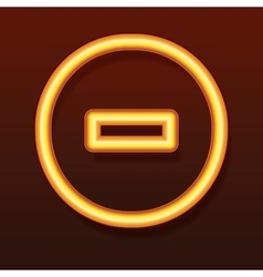 Glowing golden icon Line in a circle vector image