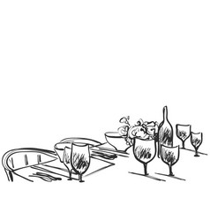 Hand drawn wares sketch romantic dinner for two vector