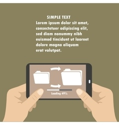 Hand holding smart phone download files from vector image vector image