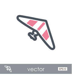 Hang glider outline icon summer vacation vector