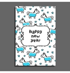 Happy new year greeting card with unicorn and vector image vector image