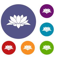 Lotus flower icons set vector