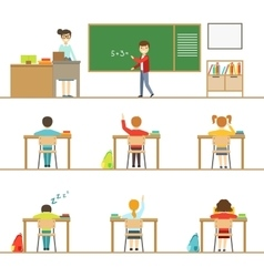 Mathematics classroom and kids behind the desks vector