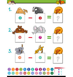 Maths subtraction game with animals vector