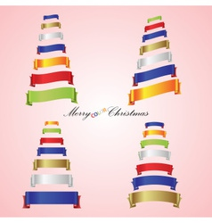 merry christmas trees from color ribbon banners vector image vector image