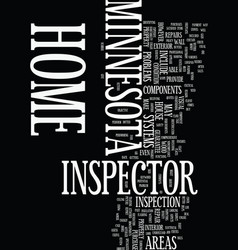 Minnesota home inspector text background word vector