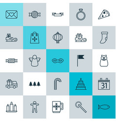 New icons set collection of fishing wax sweet vector