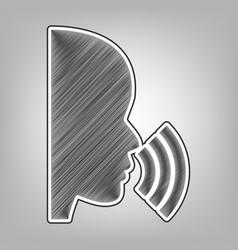 People speaking or singing sign pencil vector