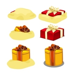 Release red and yellow gift box from sand 6 icons vector