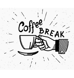 Retro coffee break crafted vector image vector image