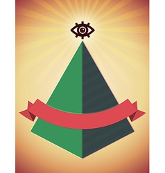 Retro poster with all seeing eye and pyramid vector