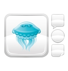 Sea beach and travel icon with jellyfish on square vector