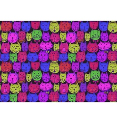 Seamless pattern with cats faces funny background vector
