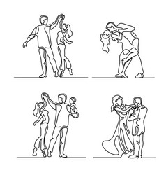 set continuous happy loving couple dancing vector image vector image