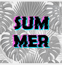 Sign summer sale with distorted glitch effect vector